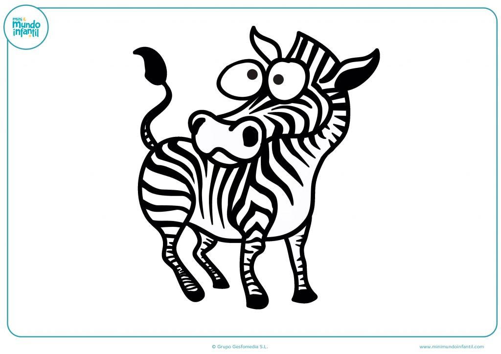 Pinta las partes blancas de la cebra con tus colores favoritos