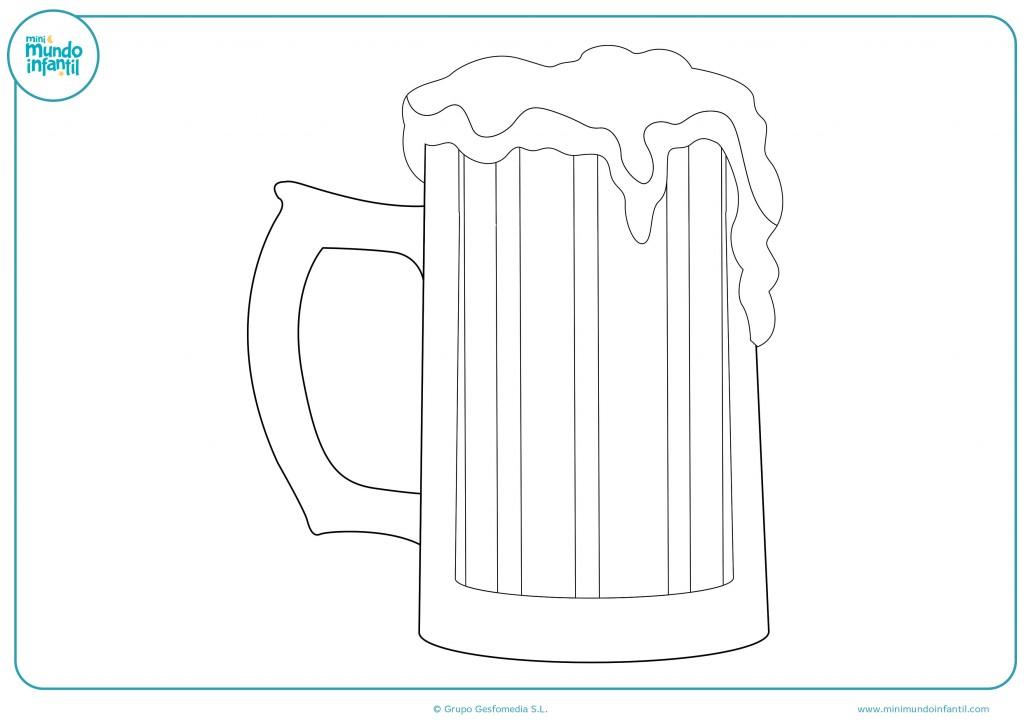 Pinta con colores este dibujo de una jarra de cerveza