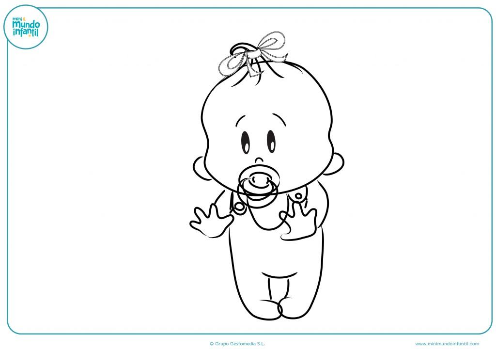 Descarga el dibujo del bebé aprendiendo a andar
