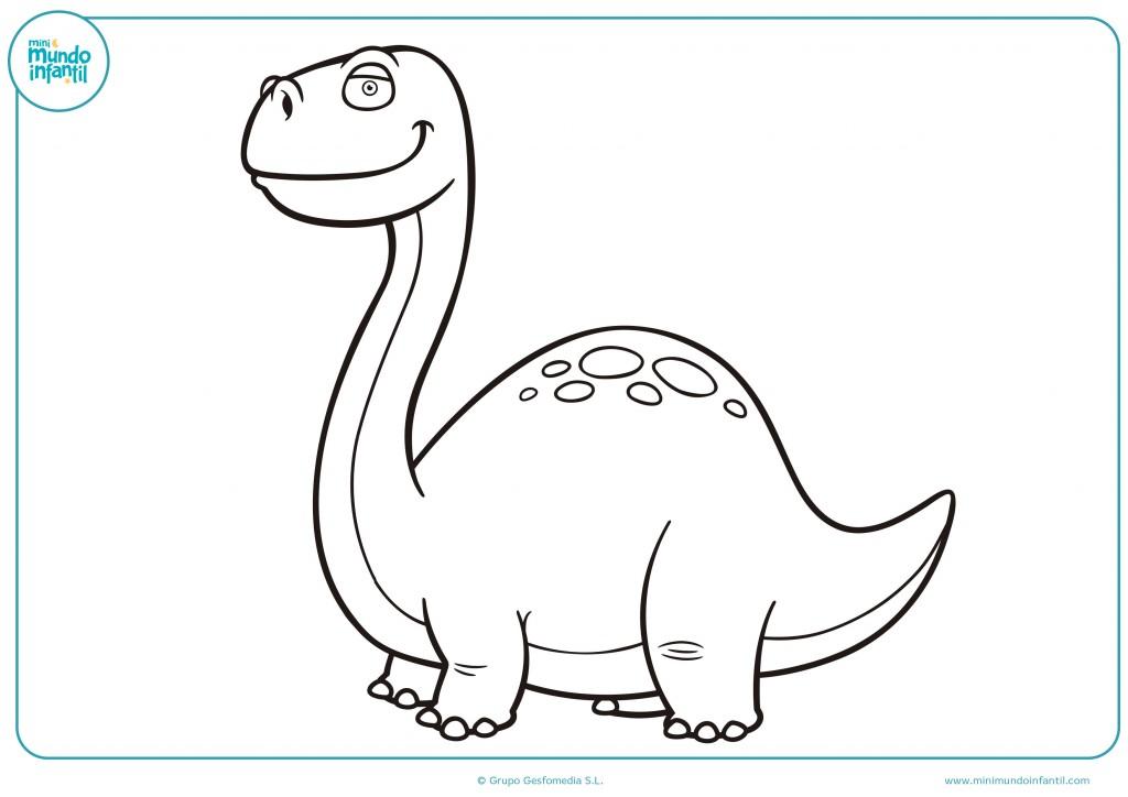 Dibujo de un diplodocus para pintar con colores