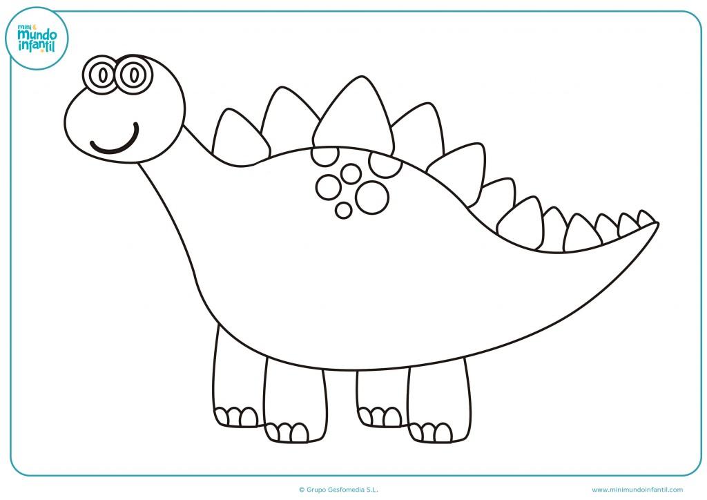 Pinta con colores el dibujo de un dinosaurio