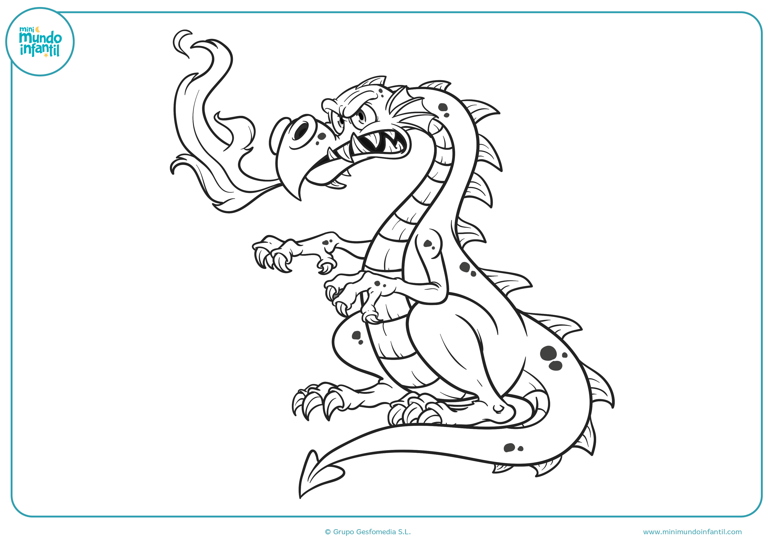 Encantador Imagen Del Dragón Para Colorear Molde - Dibujos Para ...