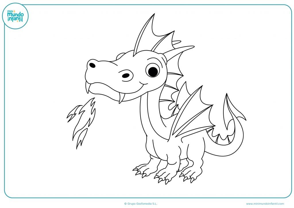 Colorea el dibujo de un dragón pequeño