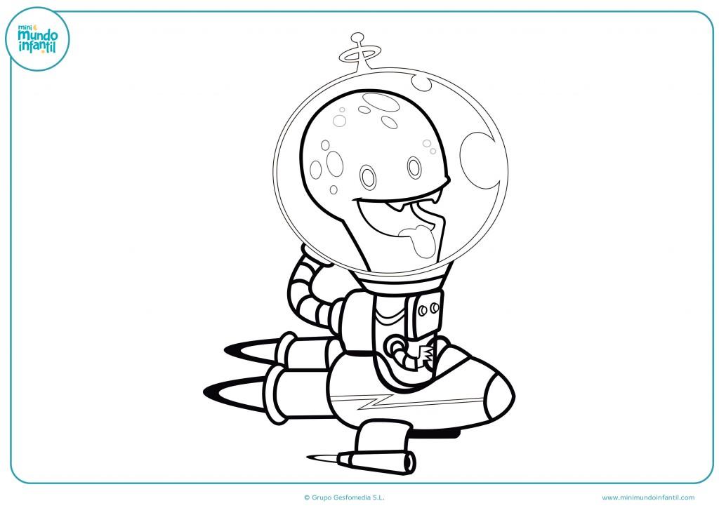 Pinta con colores el dibujo del extraterrestre en su nave