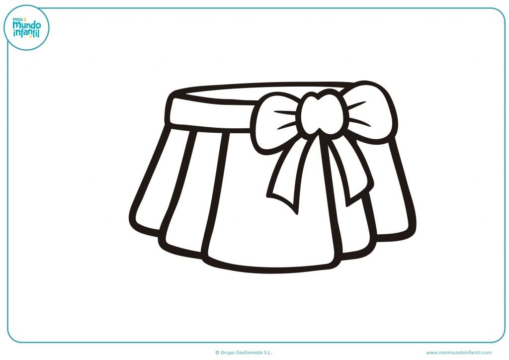 Colorea la falda con un lazo en el lado