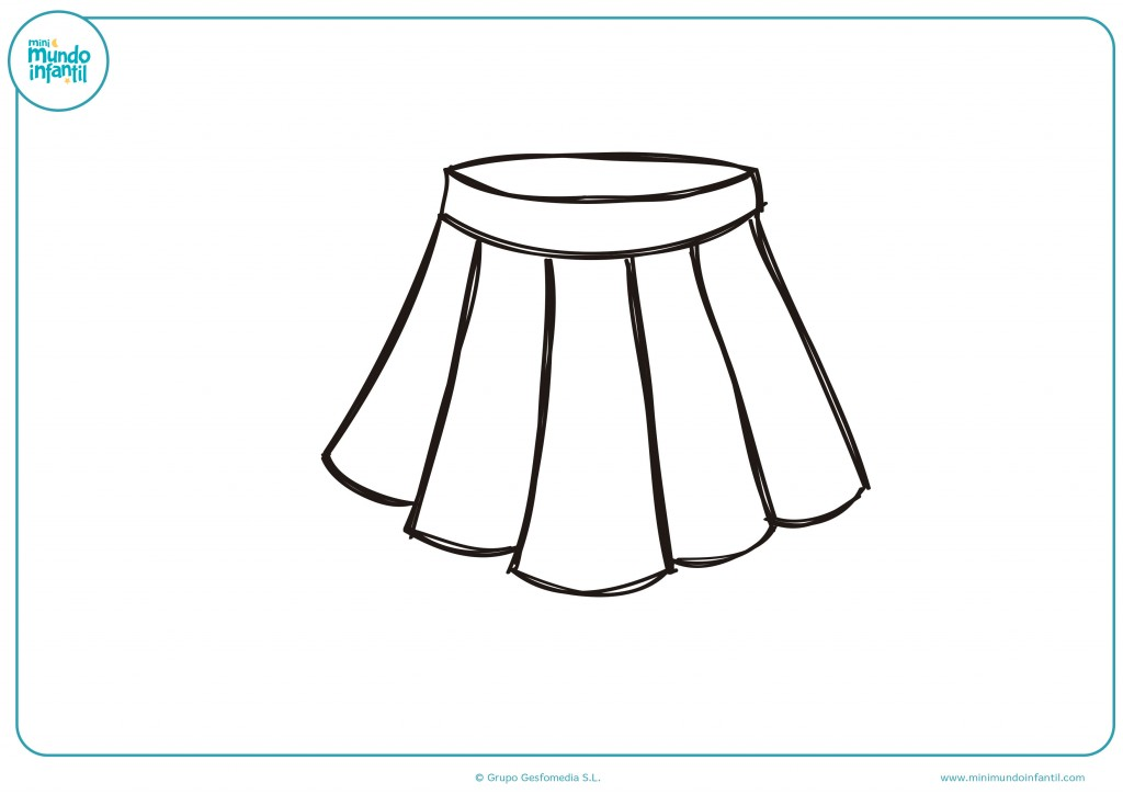 Pinta con ceras el dibujo de una falda de tablas