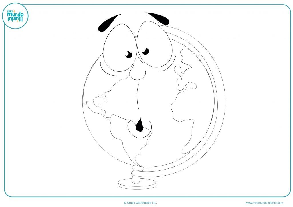 Pinta con rotuladores este dibujo de un globo terráqueo con cara divertida