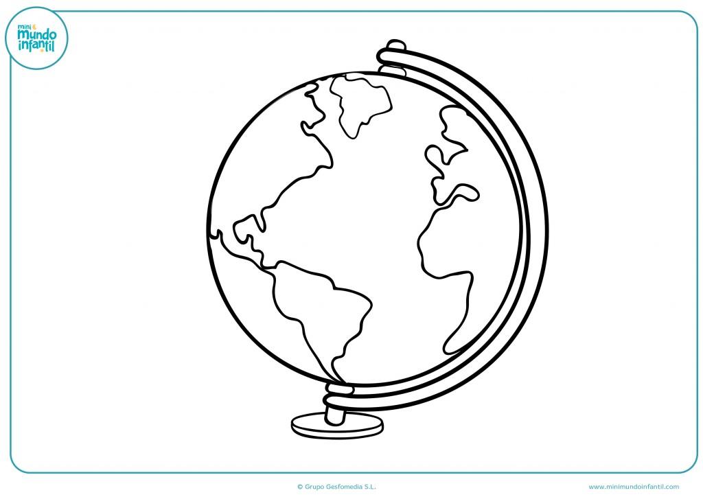 Descarga el dibujo de un globo terráqueo y píntalo