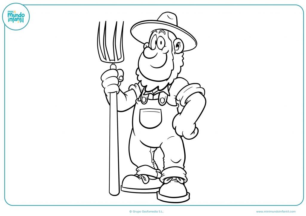 Descarga el dibujo de un granjero y píntalo