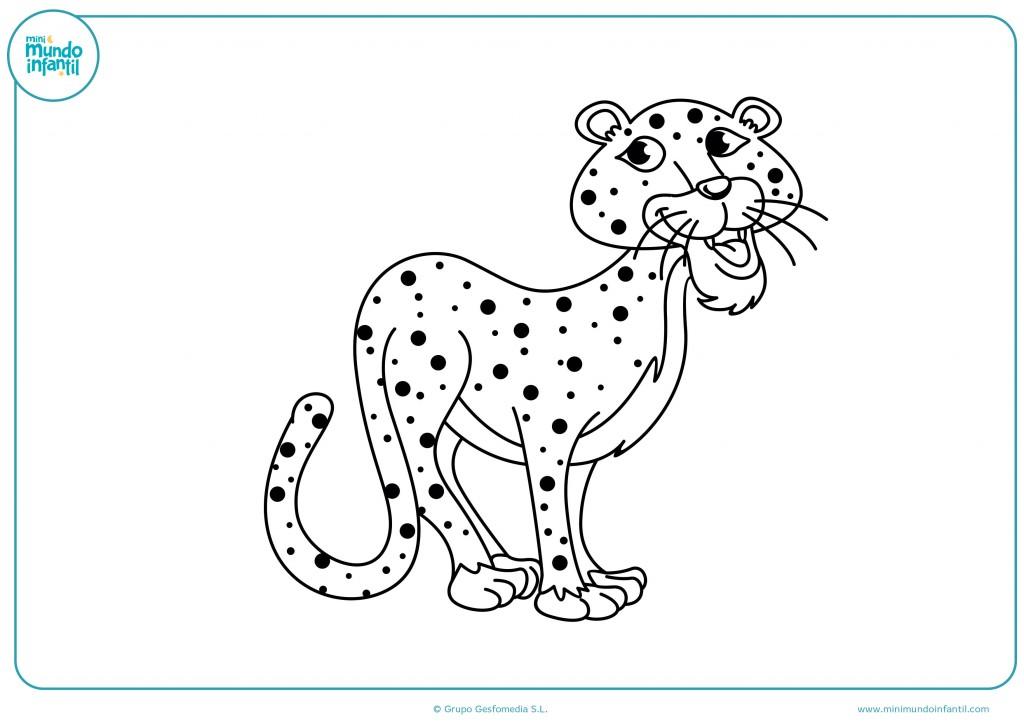 Imagen de un dulce guepardo para pintar con tus colorines