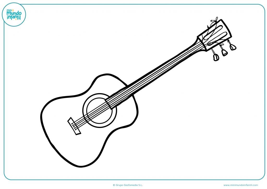 Pinta con colores el dibujo de una guitarra