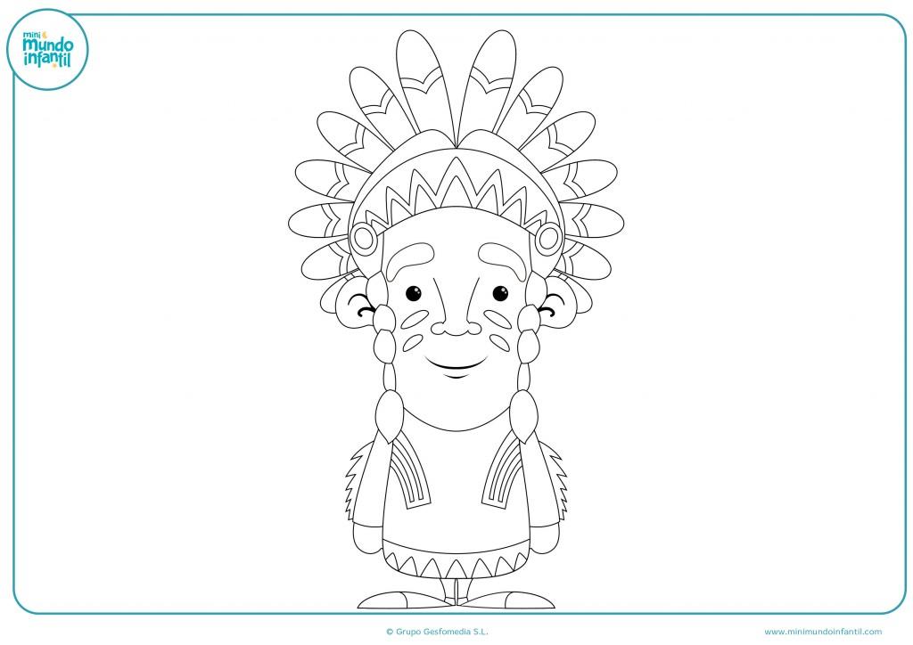 Colorea este dibujo de un jefe indio