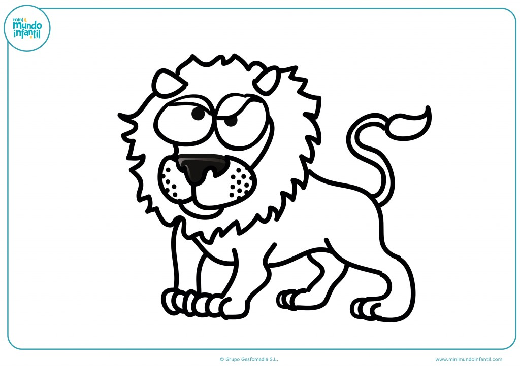 Dibujo infantil de un león pensativo para terminar de pintar