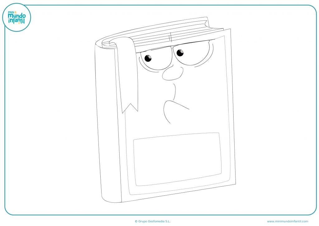 Pinta con colores este dibujo de un libro con cara