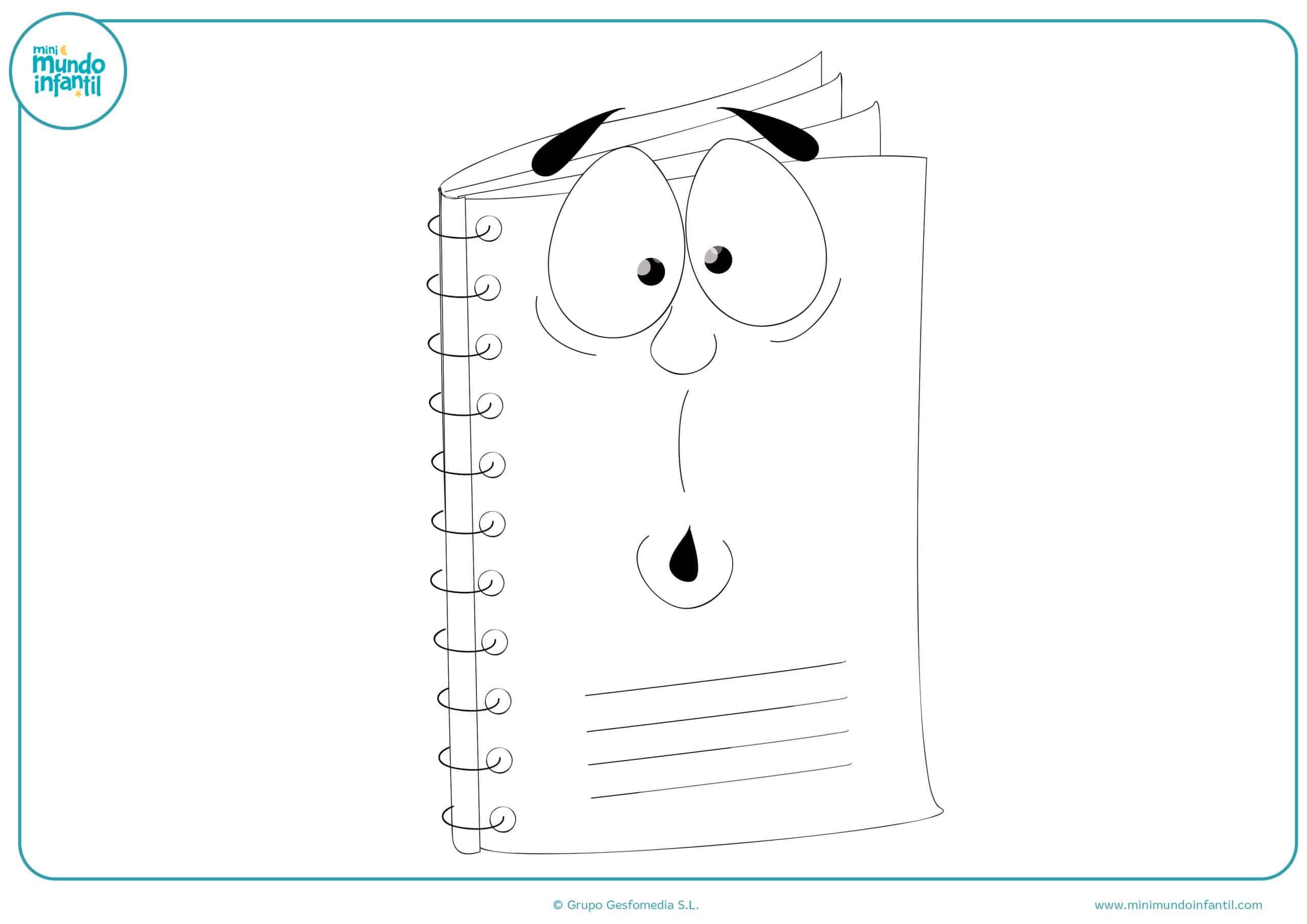 Dibujos Para Colorear De Libro Y Libreta: Dibujos De Material Escolar Para Colorear