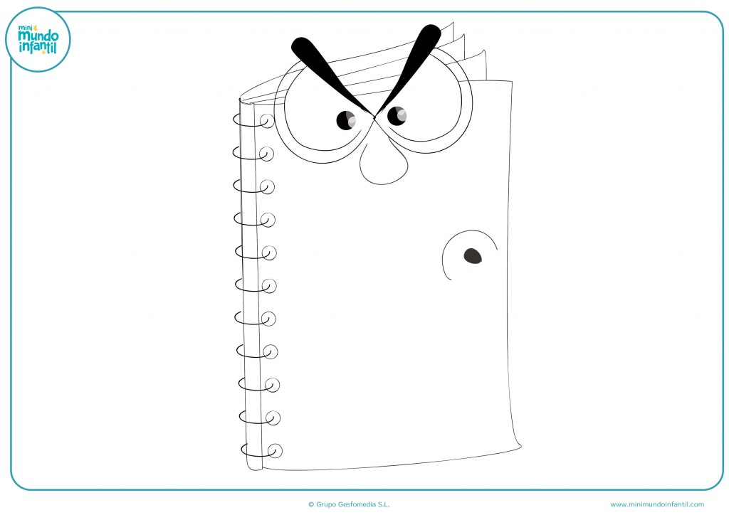 Colorea el dibujo del cuaderno con cara de enfado