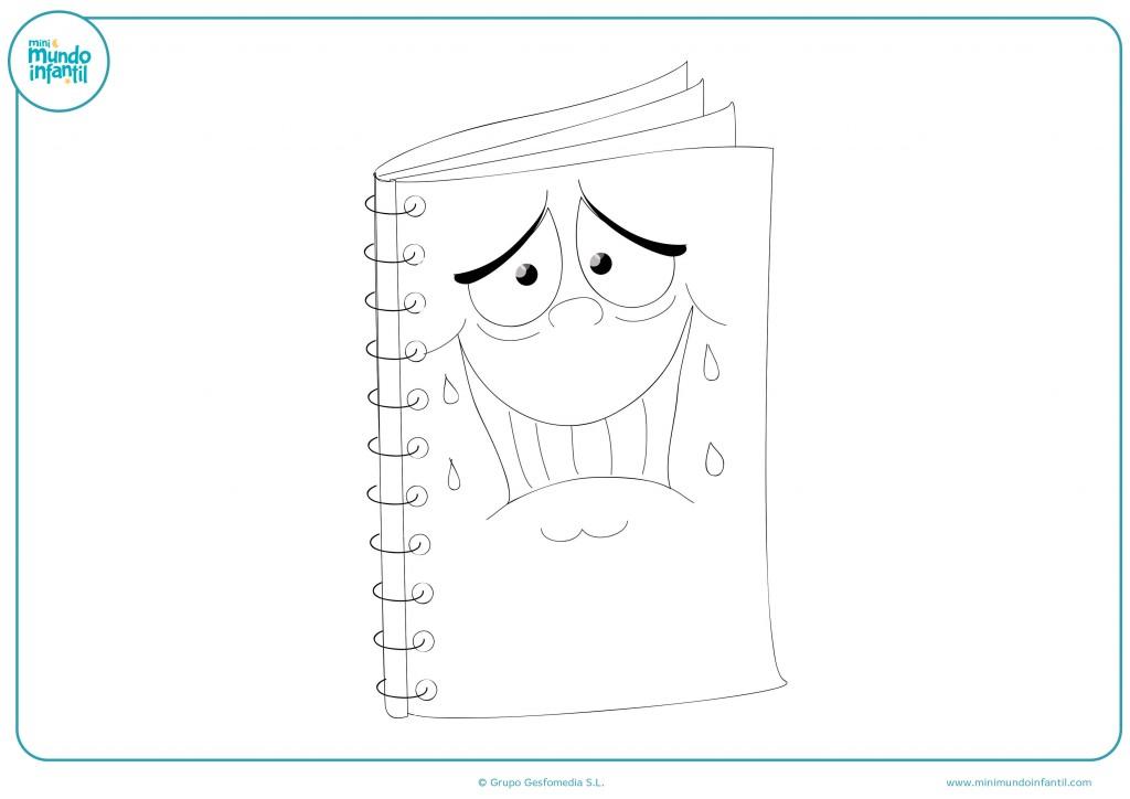 Pinta con colores el cuaderno con cara de miedo