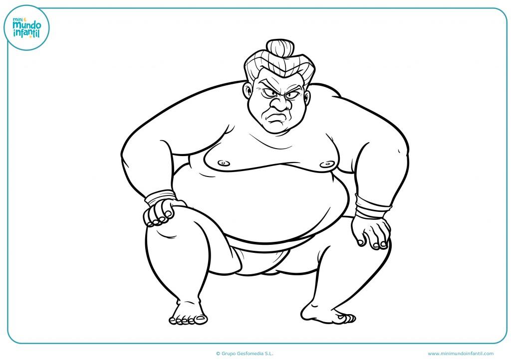 Colorea este luchador de sumo