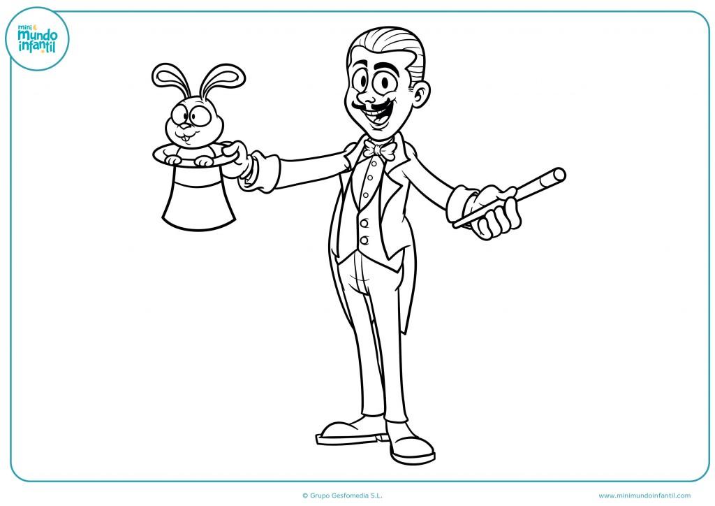 Colorea el dibujo de un mago con un conejo en el sombrero