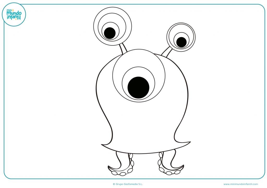 Colorea el dibujo del extraterrestre con dos tentáculos