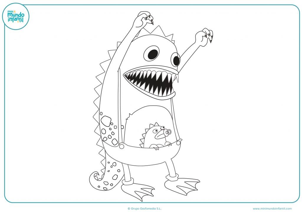 Dibujo de un marciano y su bebé ¡Coloréalo!