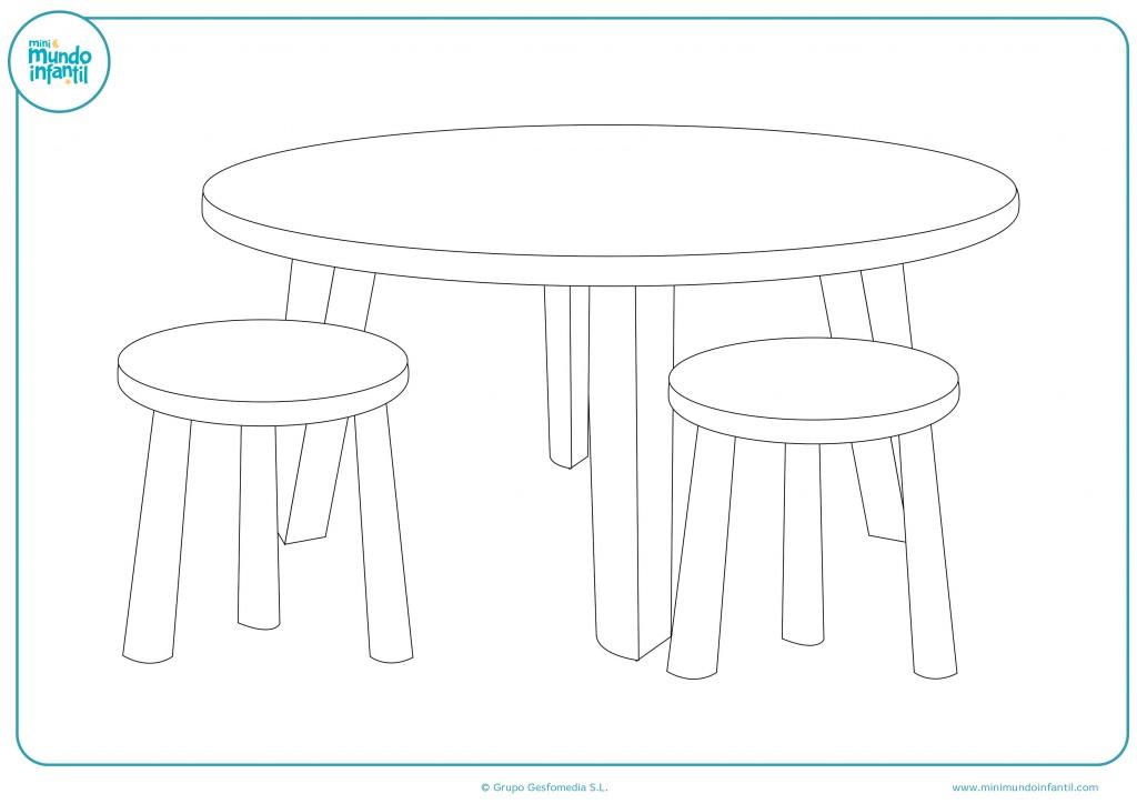 Pinta la mesa con sus sillas con colores