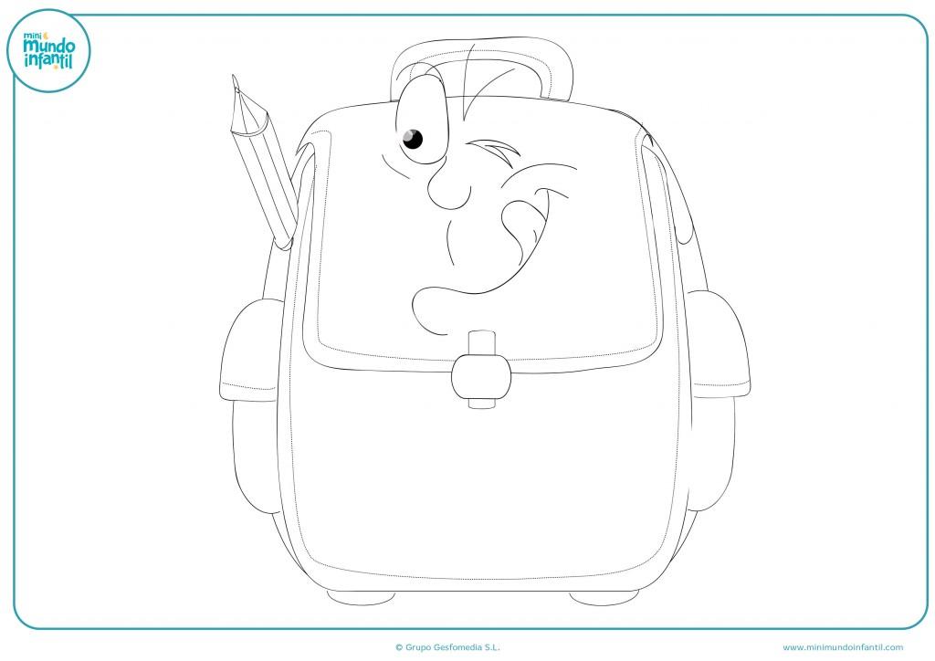 Descarga el dibujo de la mochila con cara y coloréalo