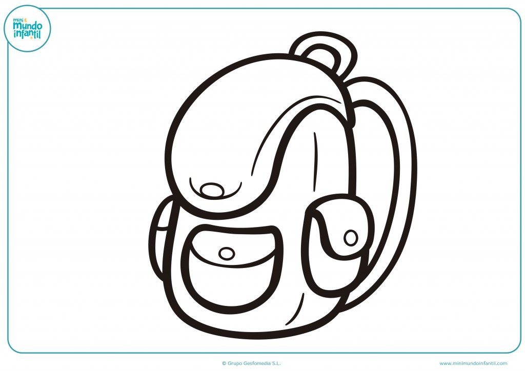 Colorea el dibujo de una mochila del colegio