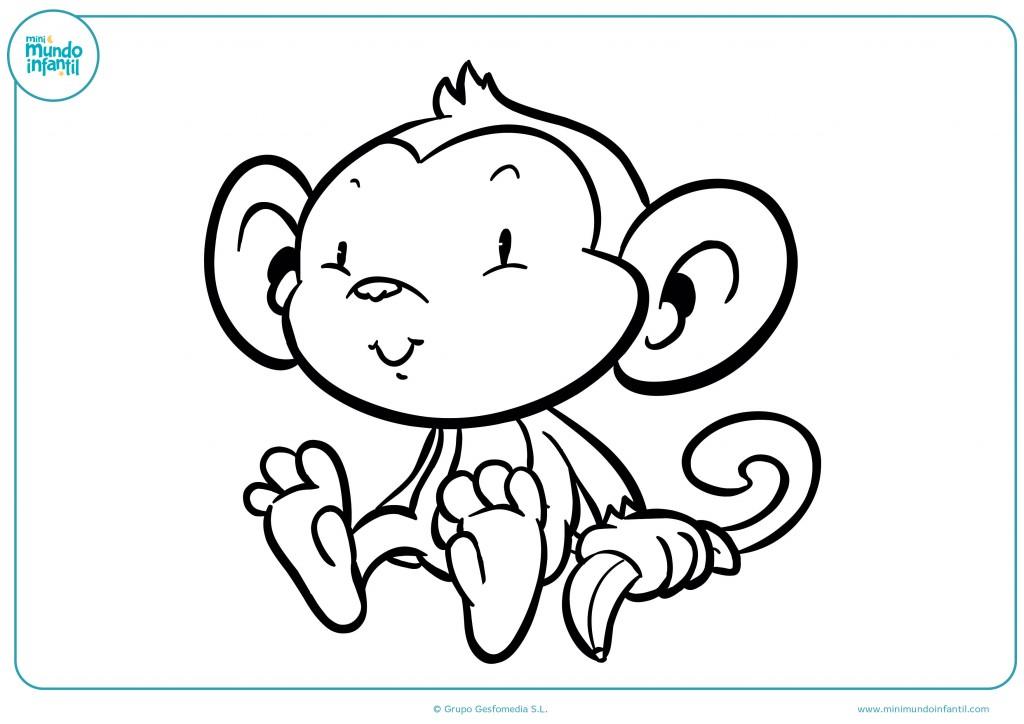 Mono con orejas grandes y graciosas para pintar con colores vivos