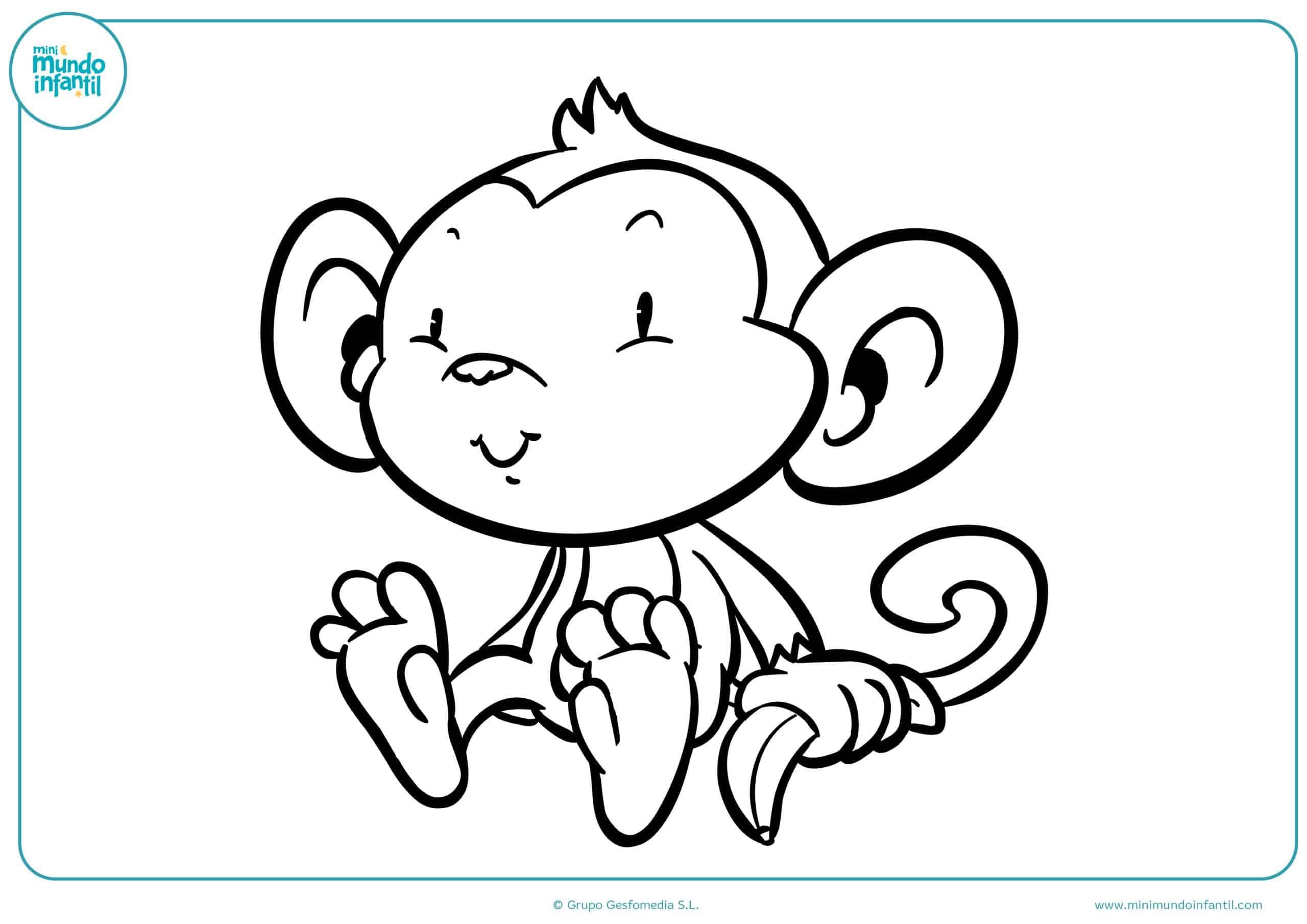 Excelente Páginas Para Colorear De Mono Para Niños Colección ...