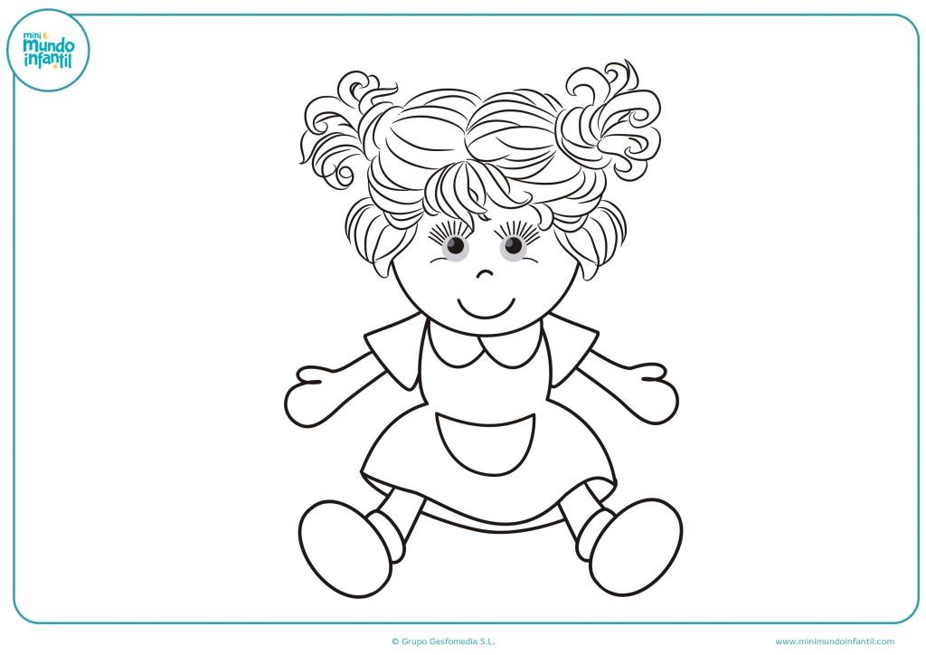 Decora el dibujo de una muñeca con coletas