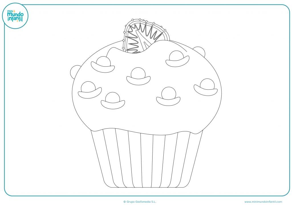 Rellena con colores el dibujo de un muffin