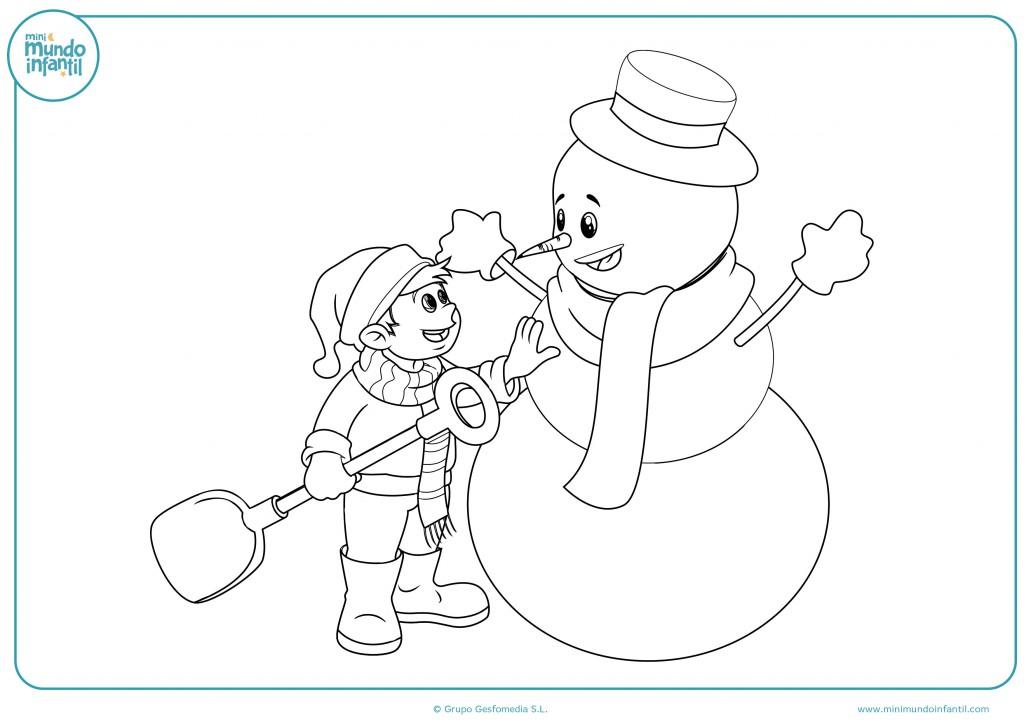 Coloreable de un niño haciendo un muñeco de nieve