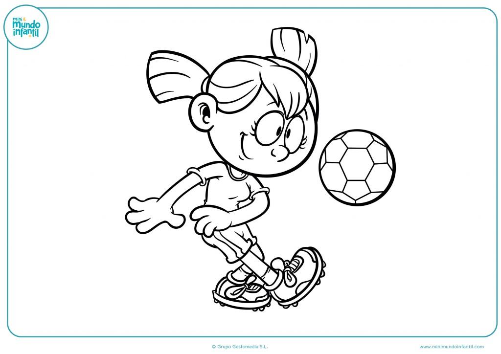 Descarga el dibujo de una niña jugando al fútbol y píntalo