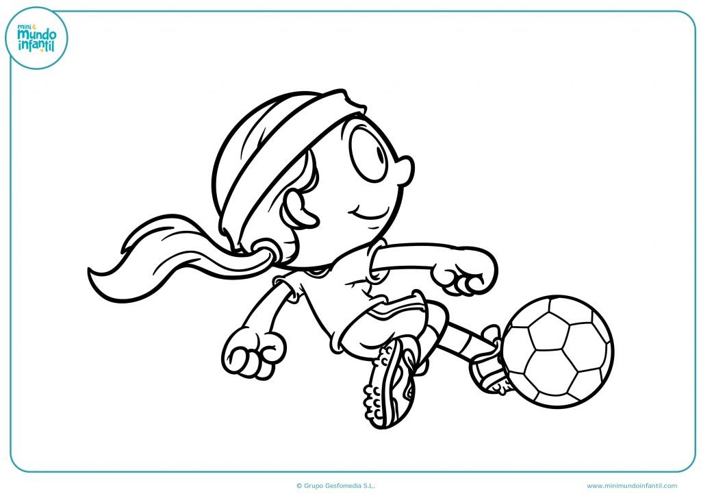 Colorea la equipación de esta niña futbolista