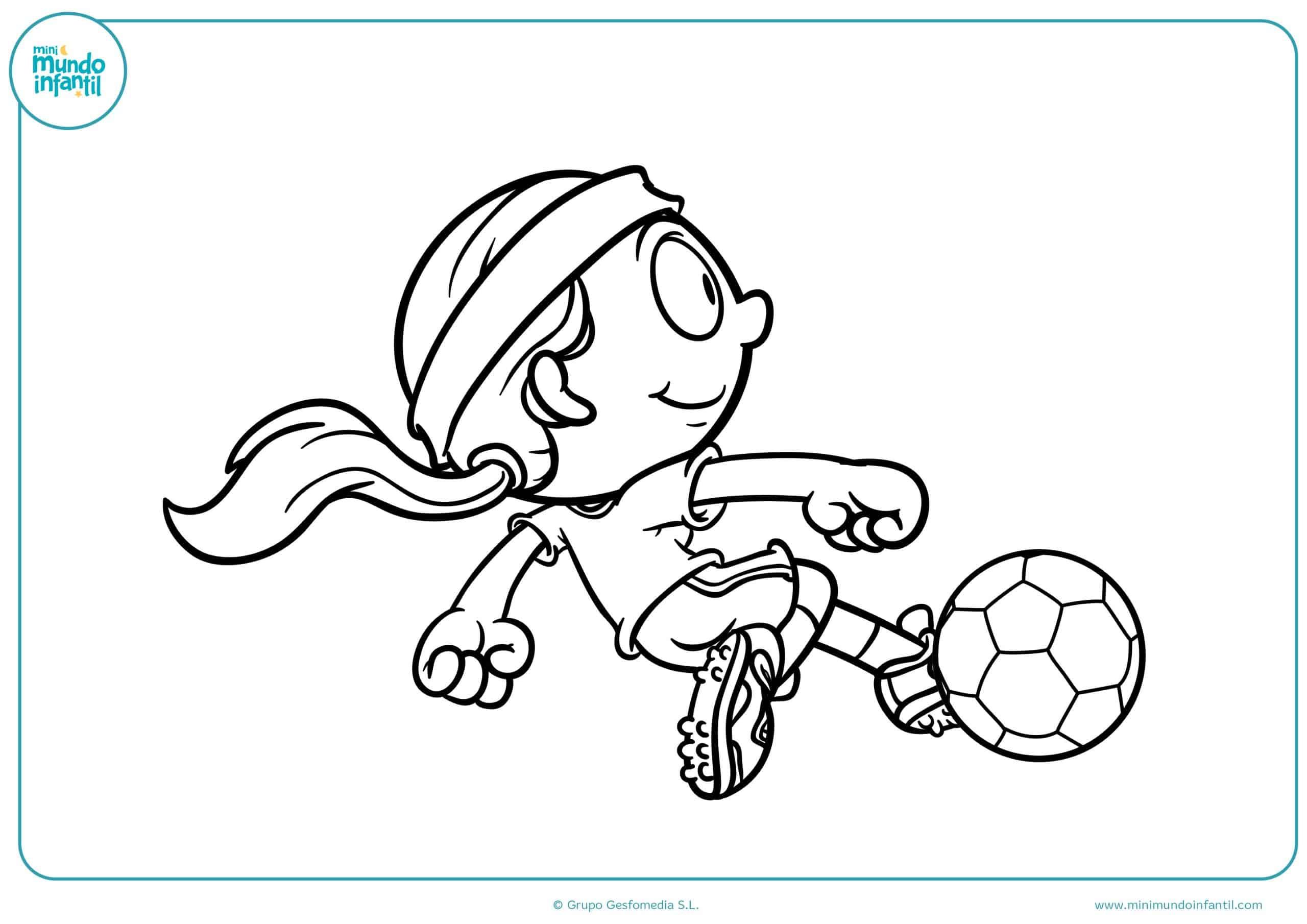 Lujo Página Para Colorear Chica De Fútbol Galería - Dibujos Para ...