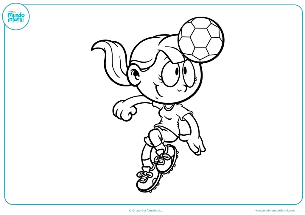 Coloreable de una niña futbolista