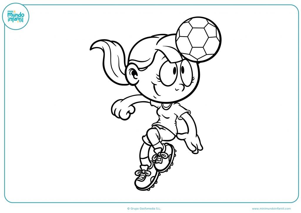 Coloreable de una niña futbolista