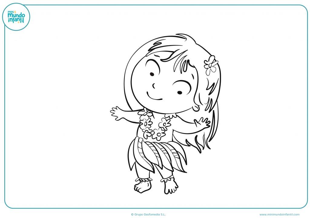 Descarga el dibujo de una niña hawaiana bailando