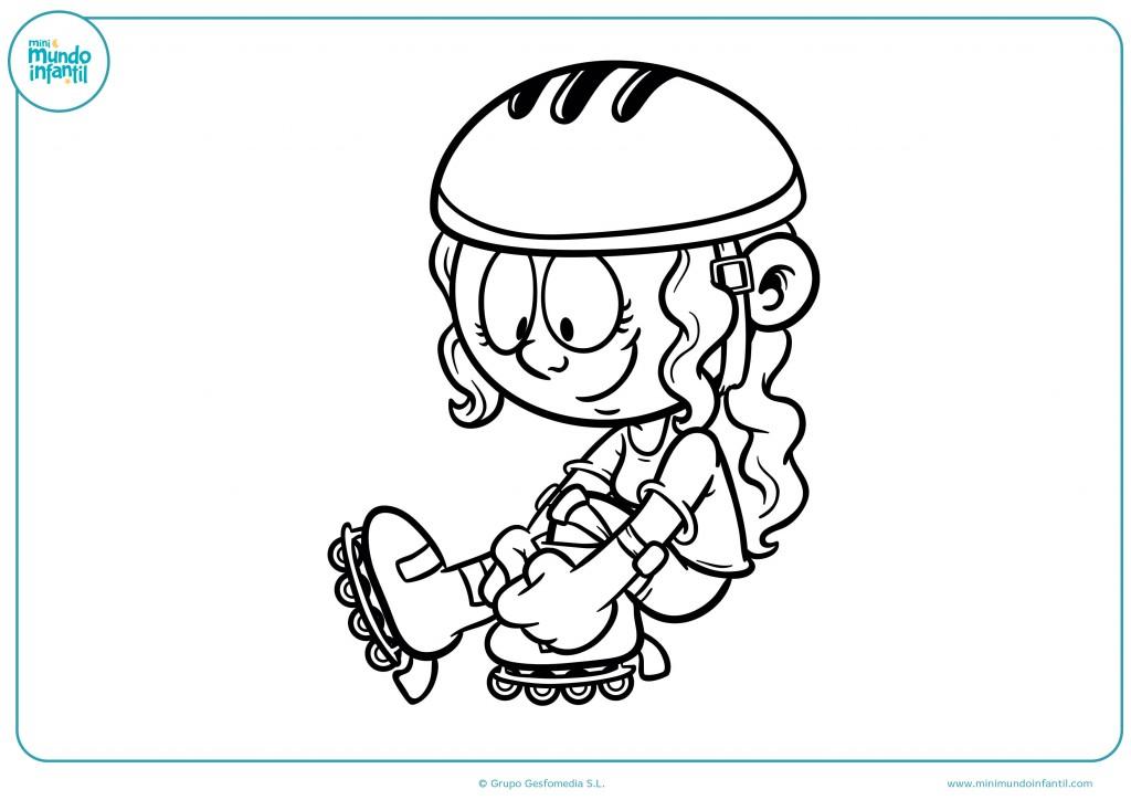 Coloreable de una niña poniéndose los patines