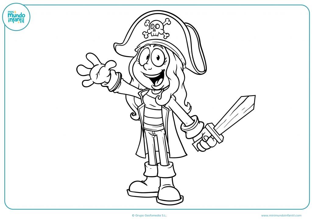 Colorea el dibujo de esta niña pirata