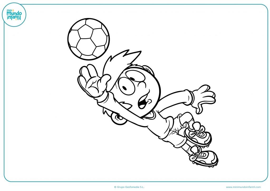 Colorea el dibujo de un portero de fútbol