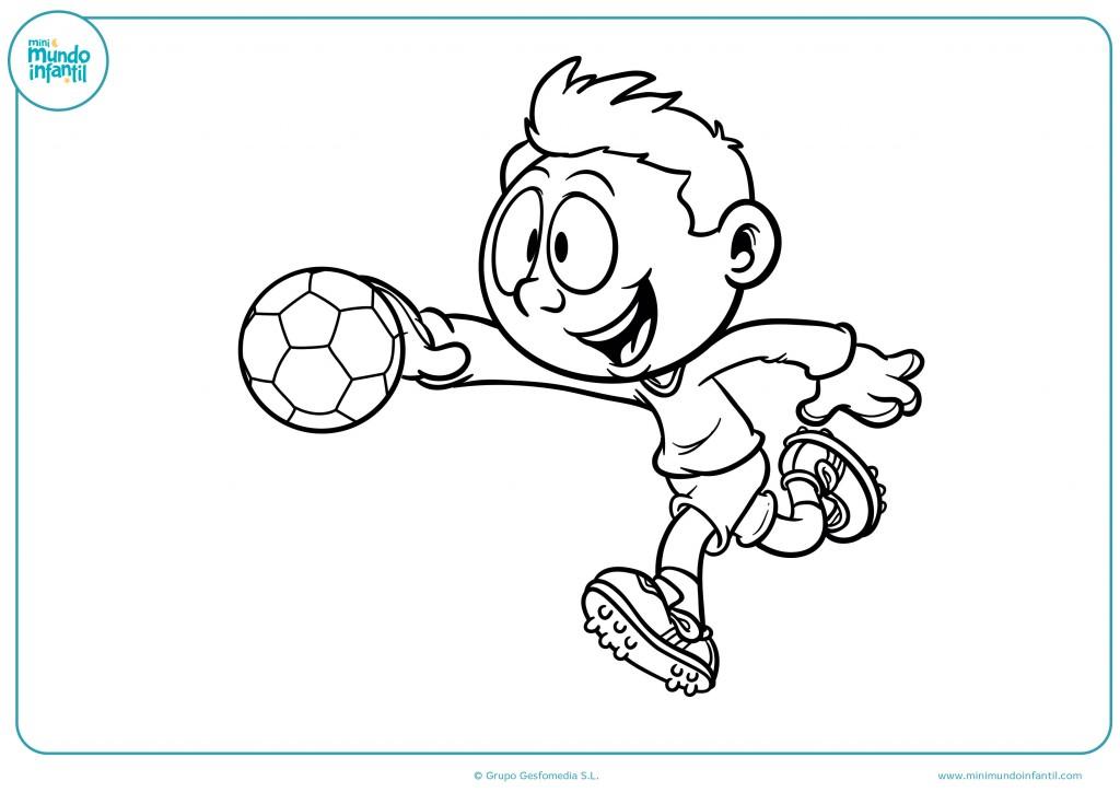 Pinta el dibujo del portero parando un balón
