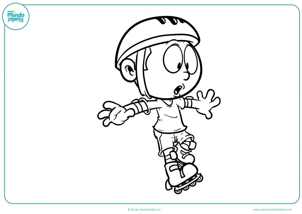 Pinta con ceras el dibujo de un niño aprendiendo a patinar