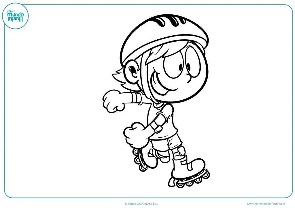 Colorea el niño patinador