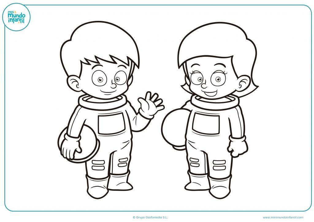 Pinta de colores a este niño y niña astronautas