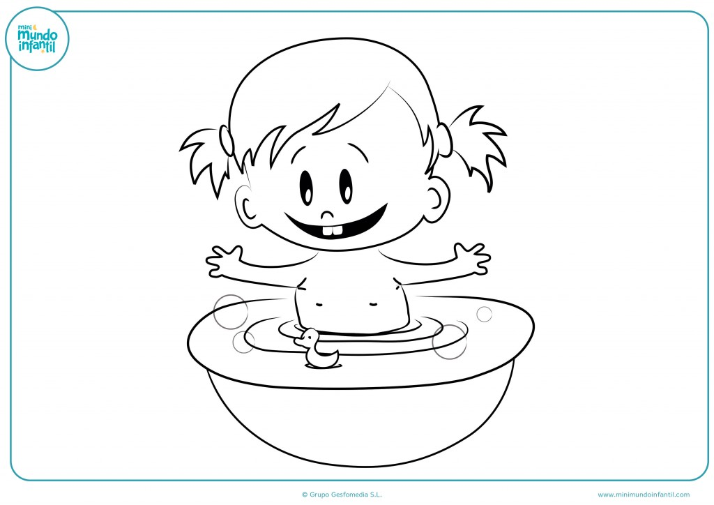 Rellena con colores el dibujo del bebé en la bañera