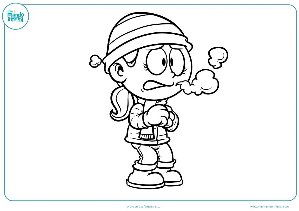 Pinta el dibujo de la niña en invierno