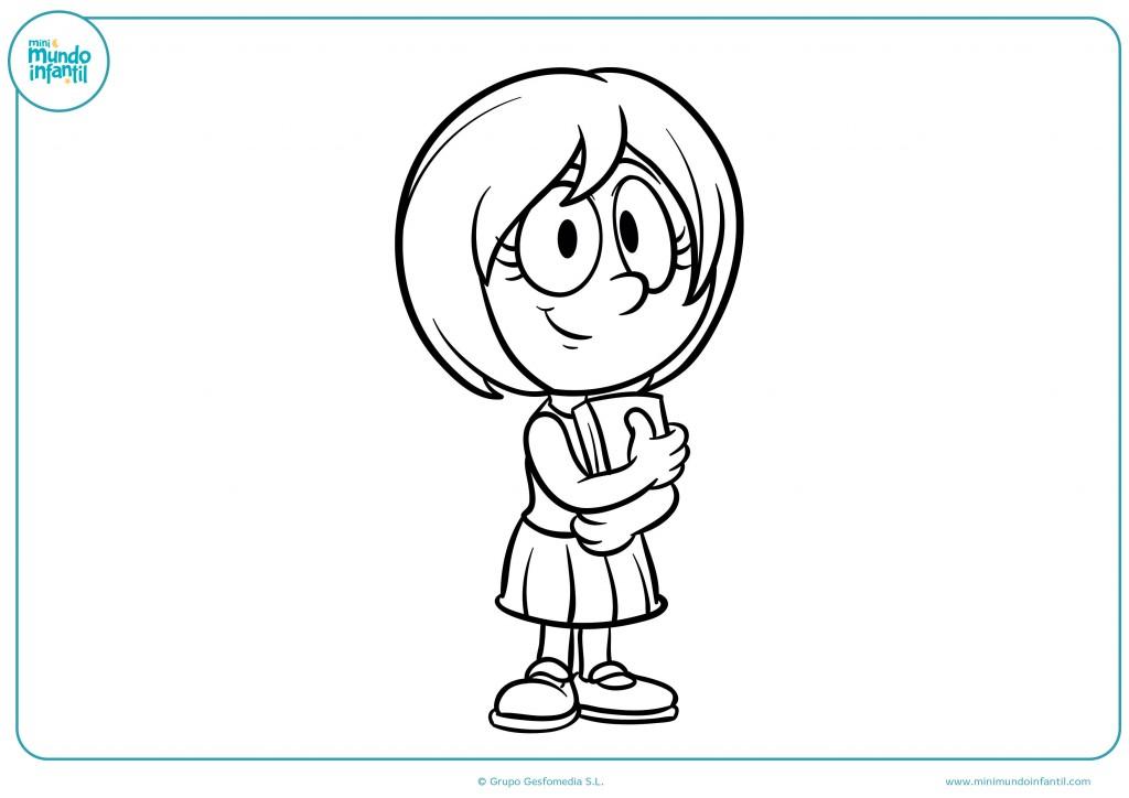 Pinta con rotuladores o ceras el dibujo de la niña con el pelo corto