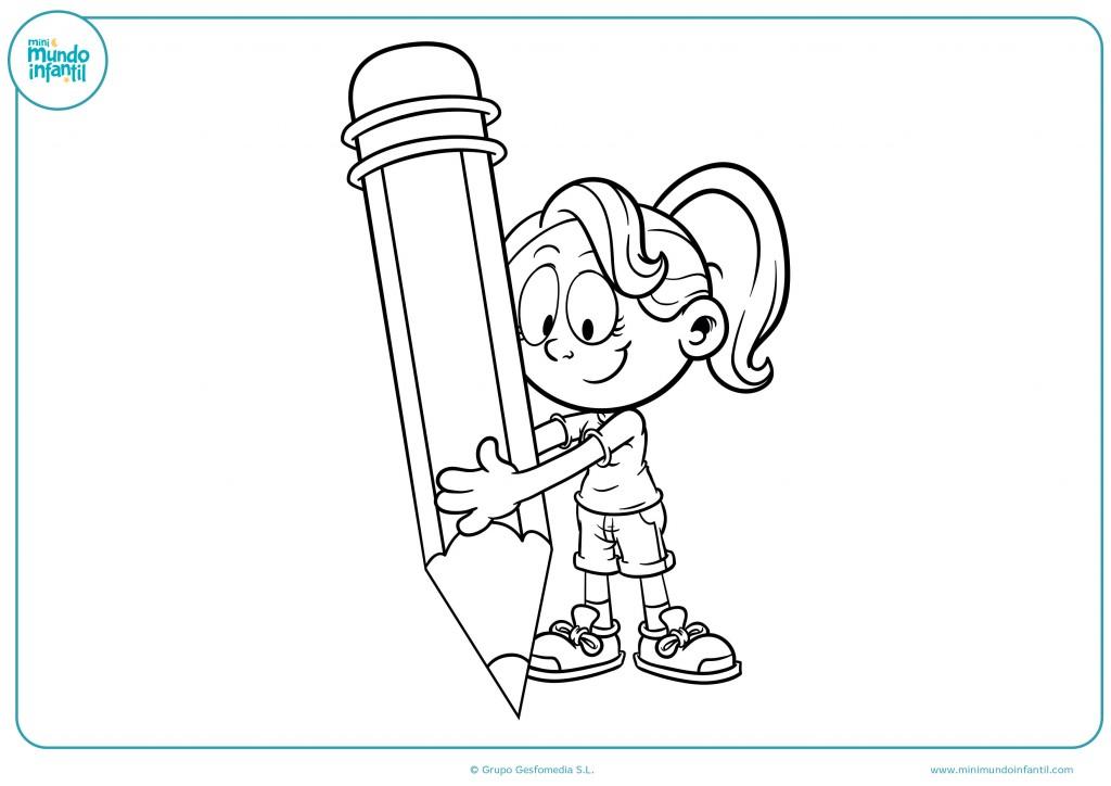 Pinta con colores este dibujo de una niña con un lápiz gigante